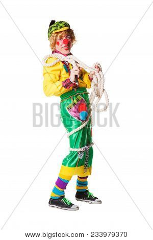 Cheerful Clown Got Confused In A Rope Isolated On A White Background