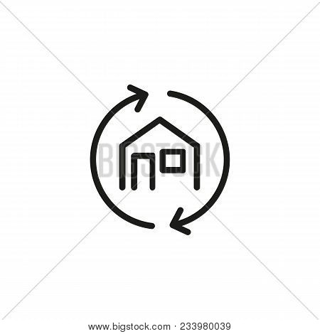 Line Icon Of House With Arrows. Real Estate Transaction, Renovation, Rebuilding. Dwelling Concept. C