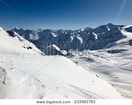 Skiing In The Stubai Glacier Ski Resort In Tyrol, Austriatop Of Tyral - Information Board At The Sum