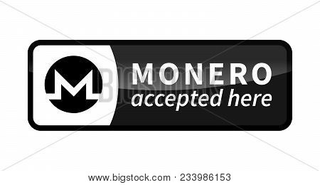 Monero Accepted Here, Black Glossy Badge Isolated On White
