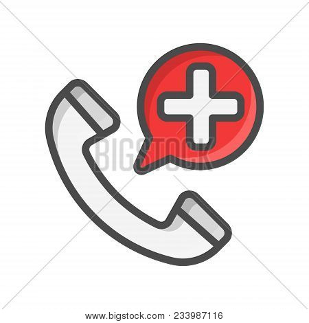 Emergency Call Filled Outline Icon, Medicine And Healthcare, Medical Support Sign Vector Graphics, A