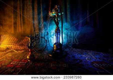 Hookah Hot Coals On Shisha Bowl Making Clouds Of Steam At Arabian Interior. Oriental Ornament On The