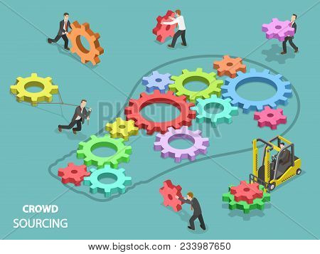 Crowdsourcing Flat Isometric Vector Concept. Team Of People Are Filling The Light Bulb Outline With