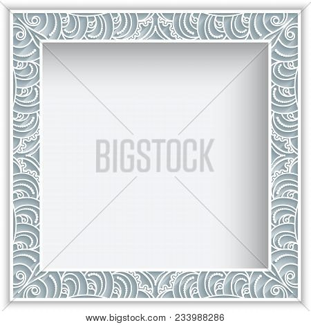 Square Frame With Lace Border Pattern, Vintage Ornamental Photo Frame, Elegant Decoration For Greeti