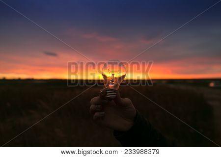 Woman's Hand Holding Ordinary Electric Lighbulb On Sunset