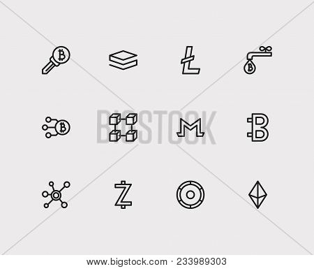 Crypto Currency Icons Set. Coin Faucet And Crypto Currency Icons With Litecoin, Node And Altcoin. Se