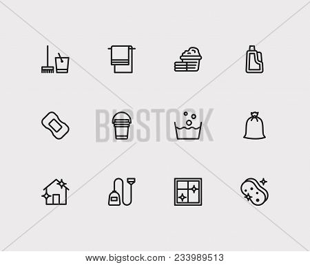 Cleaning Icons Set. Laundry And Cleaning Icons With Cleaning Sponge, Cleaning Soap And Cleaning Buck
