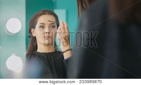 Makeup Artist, Hairdresser Working With Client In The Beauty Salon, Shaping And Coloring Eyebrows, F