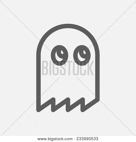 Man Pac Pixel Icon Line Symbol. Isolated Vector Illustration Of Ghost Emoji Sign Concept For Your We