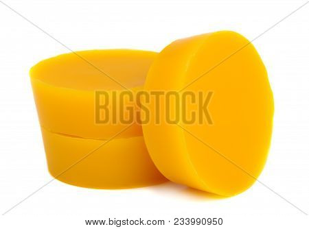 Yellow Natural Bee Wax On A White Background