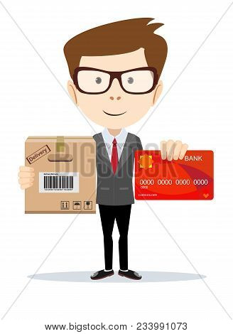 Man Holding Plastic Credit Card And Cardboard Box . Flat Style. Stock Vector Illustration.