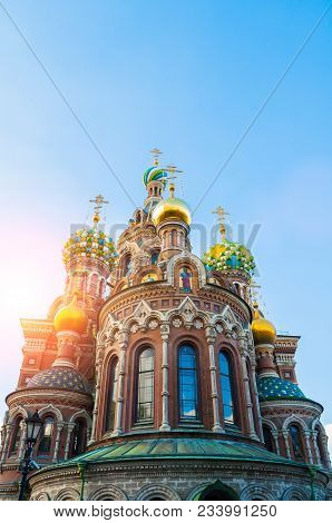 St Petersburg, Russia, Architecture Landmark. Cathedral Of Our Savior On Spilled Blood In St Petersb