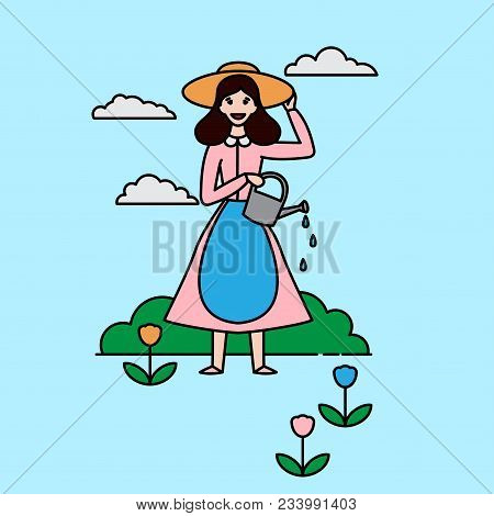 Outline Happy Gardener Woman With A Shovel And Watering Can On A White Background. Farmer Girl Chara