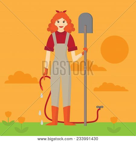 Flat Happy Gardener Woman With A Shovel And Watering Can On A White Background. Farmer Girl Characte