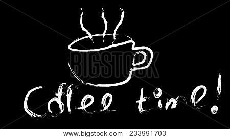 White Cup Of Invigorating Tasty Hot Brown Coffee Hand Painted With A Beautiful Steam And Coffee Time