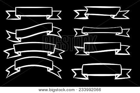 A Set Of Eight White Different Ribbons Of Signage Labels Of Labels Of Labels In Different Styles On