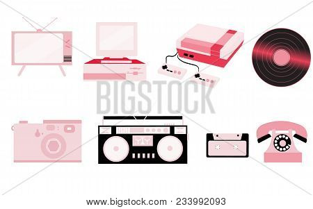Set Of Pink Old Retro Vintage Hipster Technology, Electronics: Computer, Audio Recorder, Game Consol