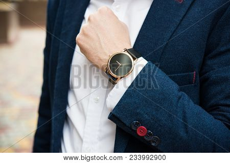 Elegant Man In Blue Suit, Business Man's Hand With Fashion No Br