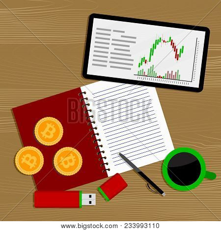 Crypto Currency Market. Finance Business Money, Market Electronic Crypto, Vector Illustration