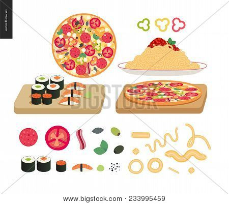 Restaurant Set - A Set Of Various Dishes - Pizza, Pasta Bolognese, Sushi