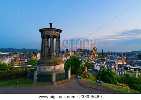 Edinburgh, Scotland. Calton Hill In Edinburgh, Scotland, Uk. Aerial View Of The City With Castle And