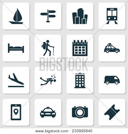 Traveling Icons Set With Signpost, Bed, Suv And Other Almanac Elements. Isolated Vector Illustration