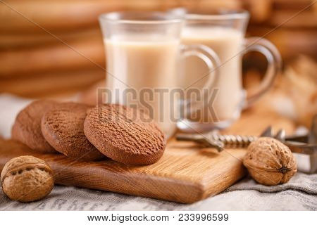 Tea And Biscuits On The Kitchen Board.tea And Biscuits On The Kitchen Board. Breakfast For Two. Tea