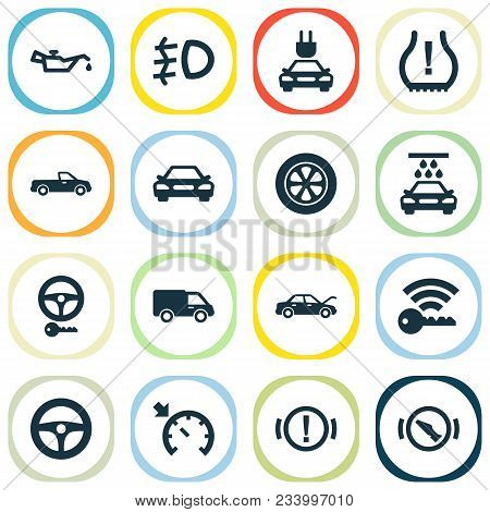 Automobile Icons Set With Electric Car, Key, Signal And Other Truck Elements. Isolated  Illustration