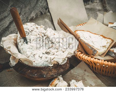 Slavic Dish Salo In A Clay Pot With Sliced White Homemade Bread. Outdoor Picnic Food.