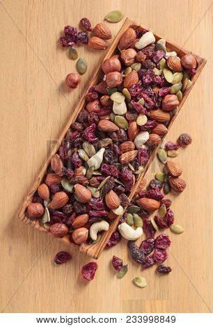 Close-up  Mix Different Of Nuts And Dried Fruits.