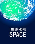 Futuristic space planet poster background. Textured cosmic celestial body in deep blue sky. Cosmic party banner template. Vector illustration. Planet Earth vector. poster