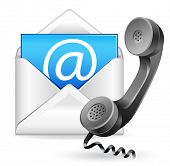 contact us vector icon - e-mail and phone poster