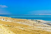 Desert landscape and salt evaporation ponds in the southern section of the Dead Sea, Southern Israel poster