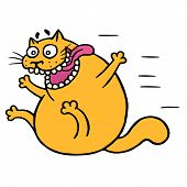 Cute mad cat flies with joy. Vector illustration. Funny cartoon animal character hurry up. poster