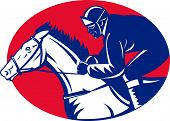 illustration of a horse and jockey racing side view done in retro woodcut style set inside oval poster