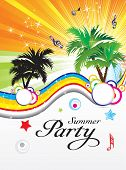 abstract colorful summer party theme vector illustration poster