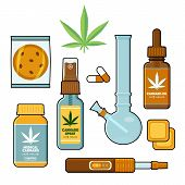 Forms of medical cannabis, marijuana set - pills, oil tincture, spray, patches, cookie, bong and vaporizer, flat style vector illustration isolated on white background. Forms of medical cannabis poster