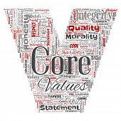 Conceptual core values integrity ethics letter font C concept word cloud isolated background. Collage of honesty quality trust, statement, character, perseverance, respect and trustworthy poster