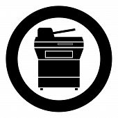 Multifunction printer or automatic copier icon black color in circle vector illustration poster