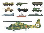 Military transport vector vehicle technic army war tanks and industry armor defense transportation weapon illustration. Exhibition international fighting conflict weaponry system. poster