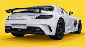 Mercedes-benz Sls White Color. Three-dimensional Raster Illustration. Isolated Car On Yellow Backgro