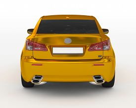 Car Isolated On White - Golden, Tinted Glass - Back View - 3d Rendering
