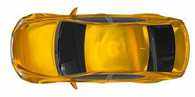 Car Isolated On White - Golden, Tinted Glass - Top View - 3d Rendering