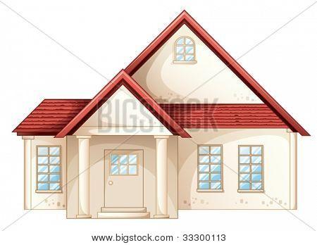 Abbildung eines einfachen Haus-Vorderansicht