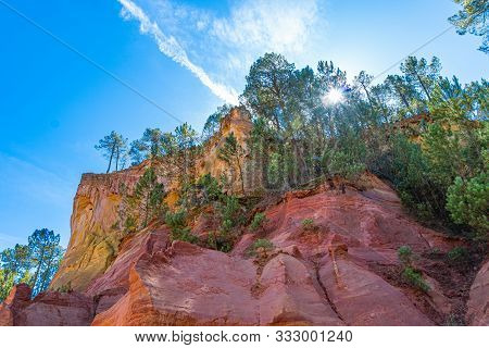 Roussillon, Red Rocks Colorful Ochre Canyon In Provence