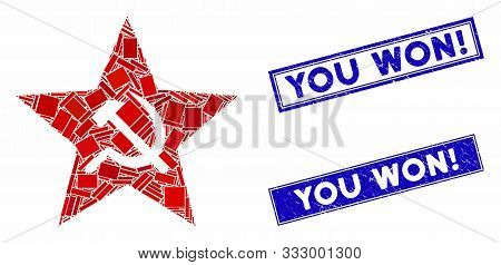 Mosaic Communism Star Pictogram And Rectangular Seal Stamps. Flat Vector Communism Star Mosaic Icon