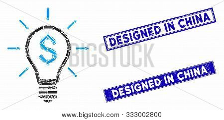 Mosaic Profitable Invention Pictogram And Rectangle Stamps. Flat Vector Profitable Invention Mosaic