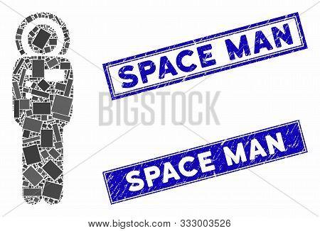 Mosaic Cosmonaut Pictogram And Rectangular Stamps. Flat Vector Cosmonaut Mosaic Pictogram Of Randomi