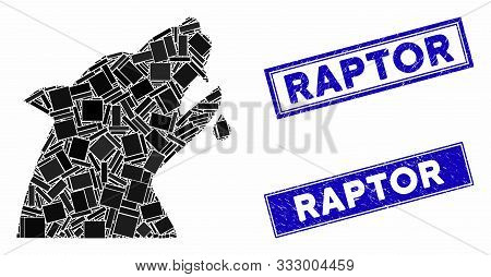 Mosaic Werewolf Icon And Rectangular Seal Stamps. Flat Vector Werewolf Mosaic Icon Of Scattered Rota