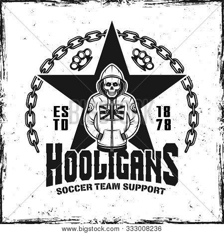 Hooligans Vintage Emblem With Skeleton In Hoodie Vector Illustration